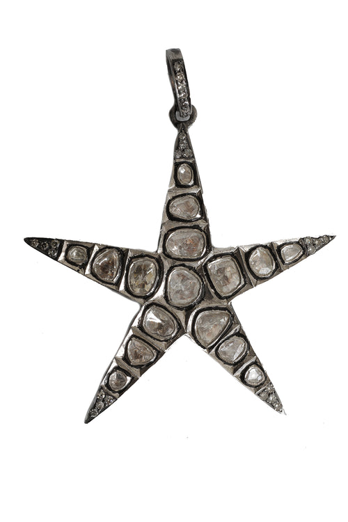 Polki Pendant with Pave Diamond Clasp