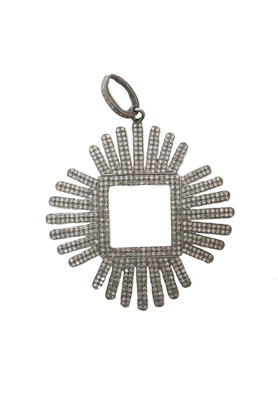Oxidized Pave Diamond Open Square Pendant