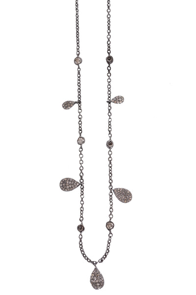 Oxidized Diamond Pear Shape Dangles Necklace