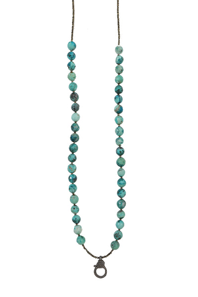 Handbeaded Chrysocolla and Pyrite Necklace with Oxidized Pave Diamond Clasp
