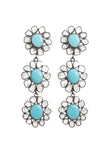 Oxidized Sliced Diamond Turquoise Flower Earrings