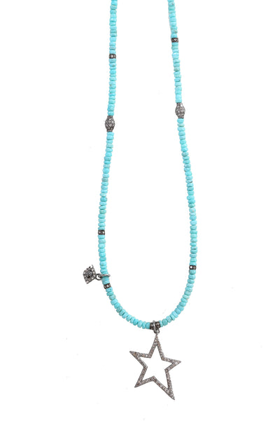 Handbeaded Turquoise Necklace with Oxidized Diamond Beads, Evil Eye Charm and Star