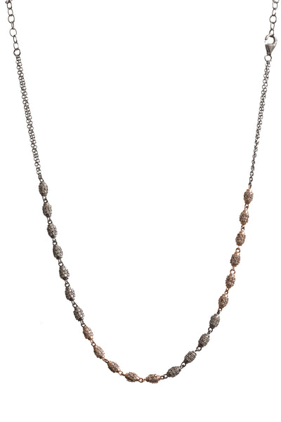 Oxidized and 14K Rose Gold Diamond Barrel Beads Necklace