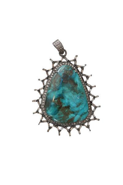 Oxidized Pave Diamond and Baguette Diamonds with Opalina Stone Pendant