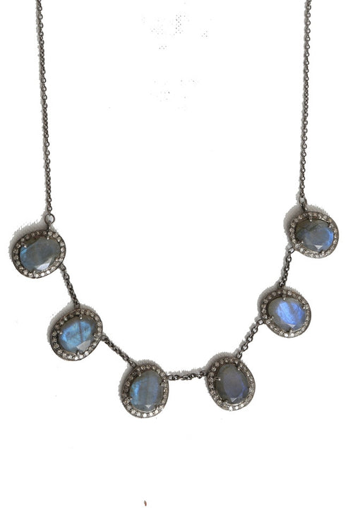 Labradorite Diamond Necklace