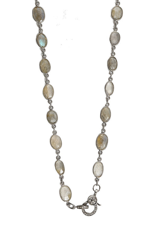 Labradorite Neckalce with Diamond Clasp
