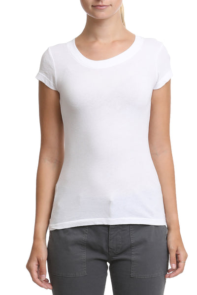 Cory Scoop Neck Tee in White