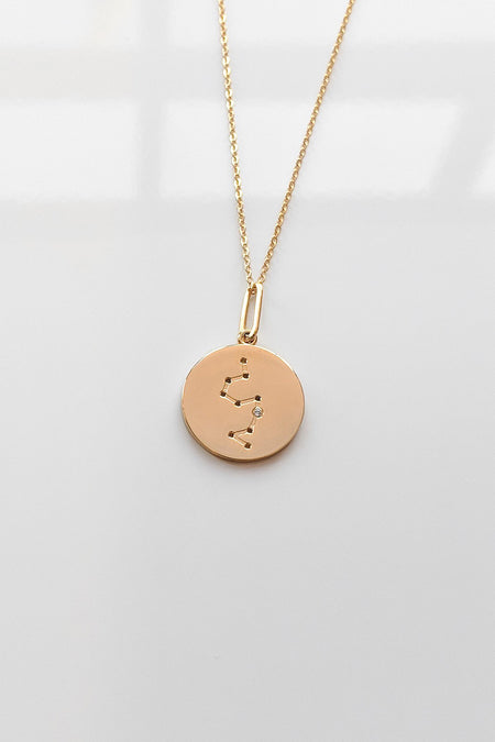 14K Rose Gold Diamond Disc Necklace