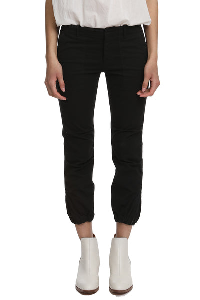 Cropped Military Pant in Black