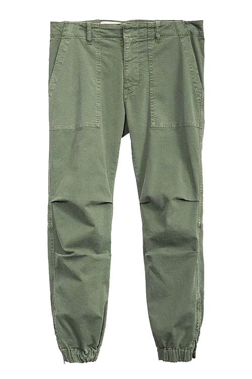 Cropped Military Pants in Camo Green