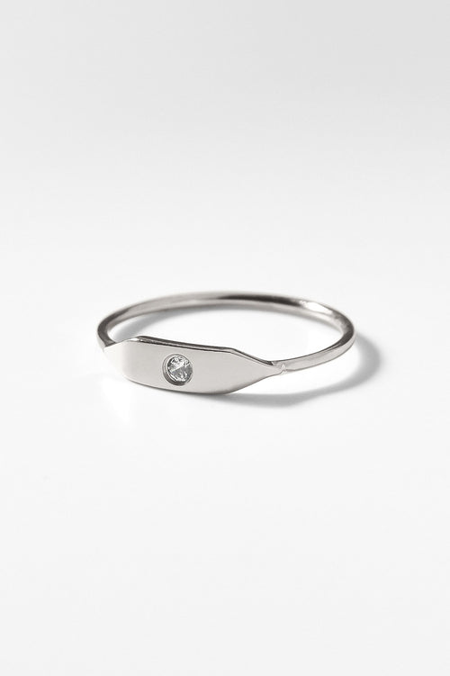 Stacking Signet Ring with Stone in Sterling Silver