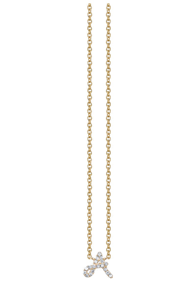 Gold and Pave Diamond 'A' Necklace