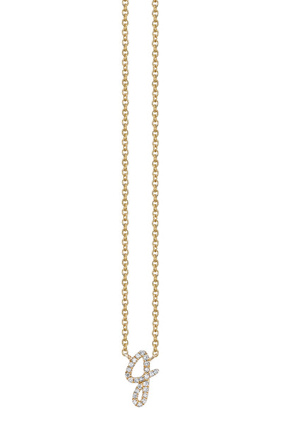 Gold and Pave Diamond 'J' Necklace