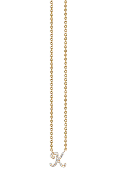 Gold and Pave Diamond 'K' Necklace