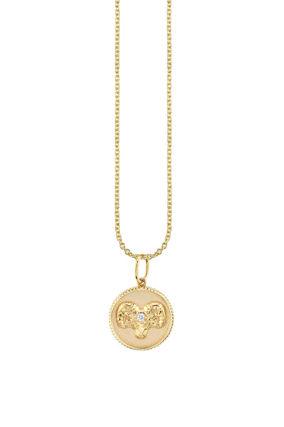 Yellow Gold Aries Zodiac Medallion Necklace
