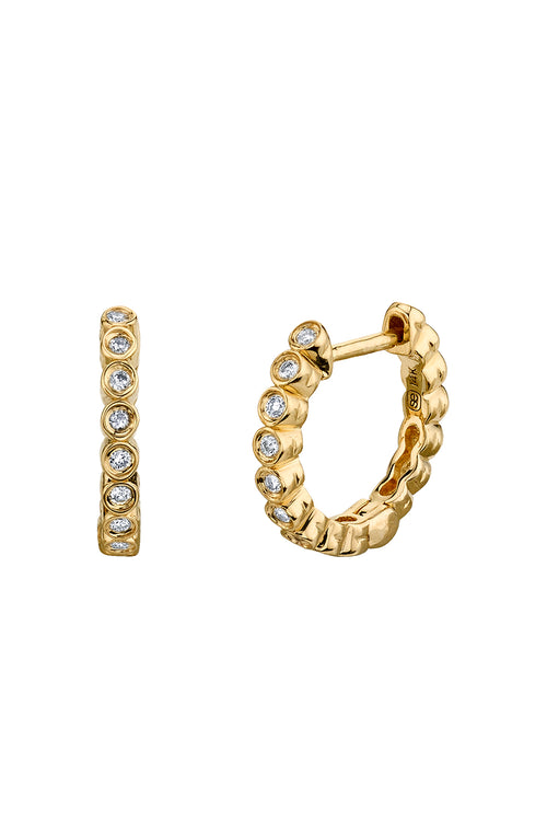 14K Gold Huggie Bezel Set Hoops