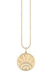 Yellow Gold Small Pave Luck Coin Necklace