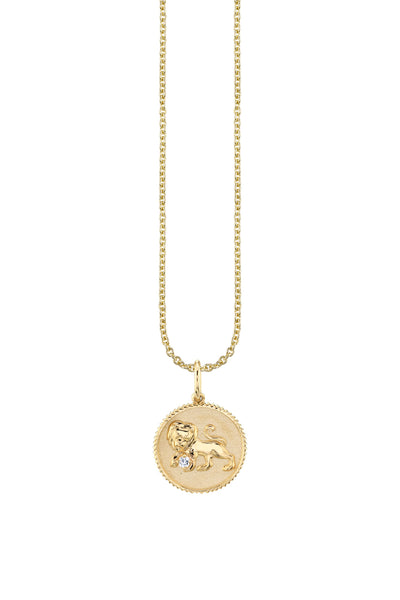 Yellow Gold Leo Zodiac Medallion Necklace