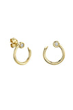 14k Yellow Gold Small Nail Hoop Earrings with Bezel Set Diamonds