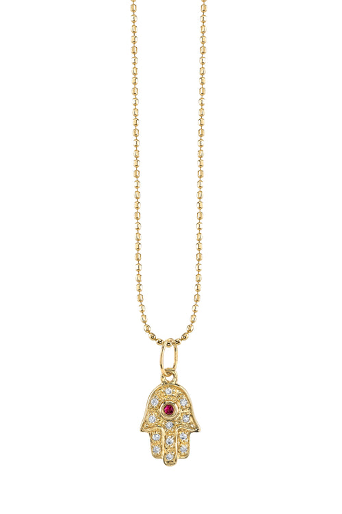 14k Yellow Gold Mini Pavé Diamond Hamsa Charm with Ruby Center Necklace