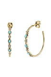 Triple Turquoise Diamond Bezel Hoops