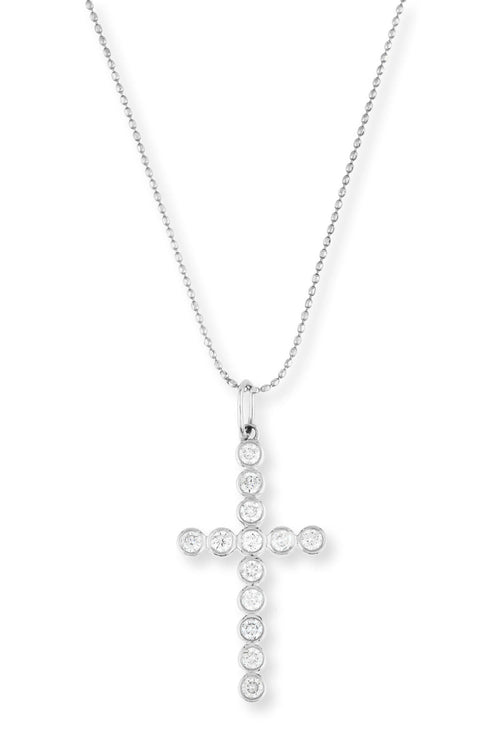 Bezel Diamond Cross Necklace