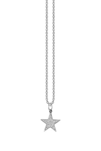 White Gold Small Pave Star Necklace