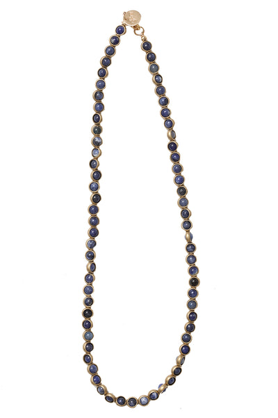 Gemstone Necklace with Antique Gold Rings in Sodalite