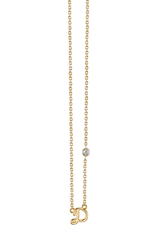 """D"" Necklace in Yellow Gold"