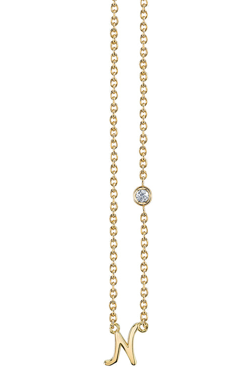 """N"" Necklace in Yellow Gold"