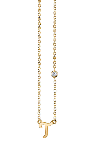 """T"" Necklace in Yellow Gold"
