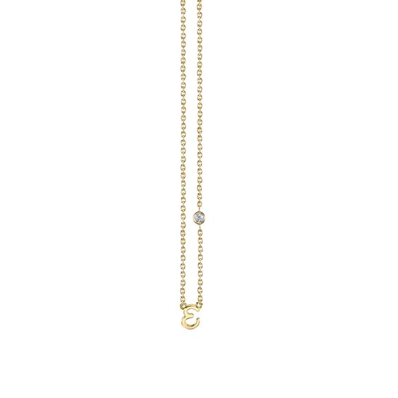 """E"" Necklace in Yellow Gold"
