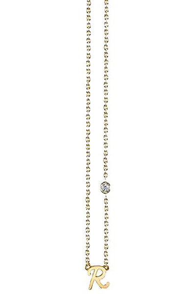 'R' Yellow Gold Necklace