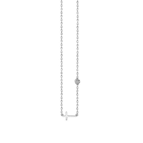 Cross Necklace in White Gold