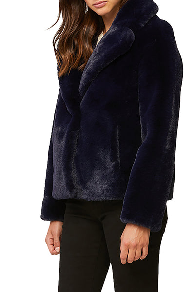 Emanuela Relaxed Fit Faux Fur Coat in Indigo