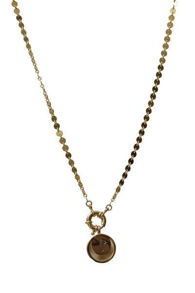 Necklace of 14K Gold Filled Circles with Crescent Moon Charm & Sailor Clasp