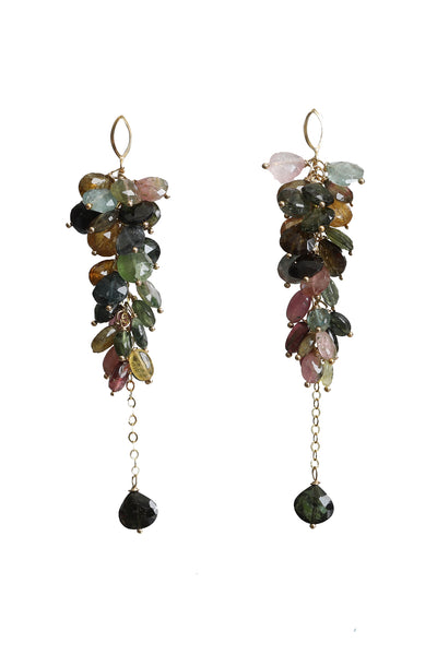 Multi Colored Tourmaline Teardrop Earrings