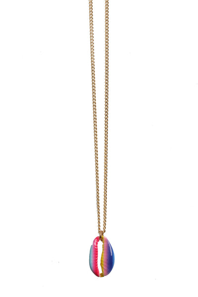 Necklace of Gold-Filled Curb Chain with Painted Enamel Rainbow Cowrie Shell