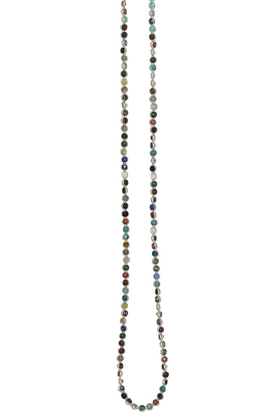 Gemstone Necklace with Silver Plated Rings in Multi Gemstones