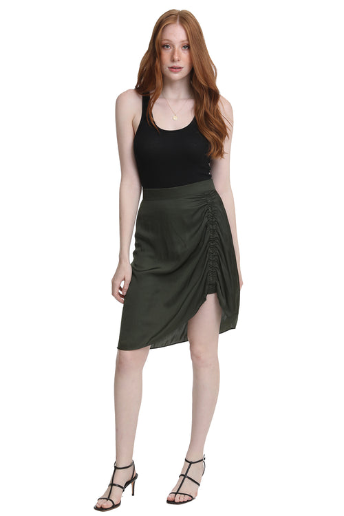 Jiji Satin Skirt in Kaki