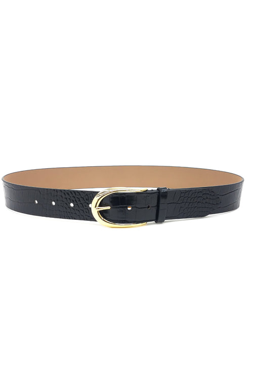 Erin Croco Belt in Black Gold