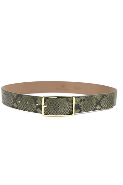 Milla Python Belt in Olive Gold