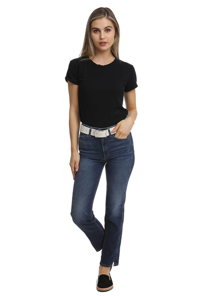 Marie Boxy Crop Tee in Black