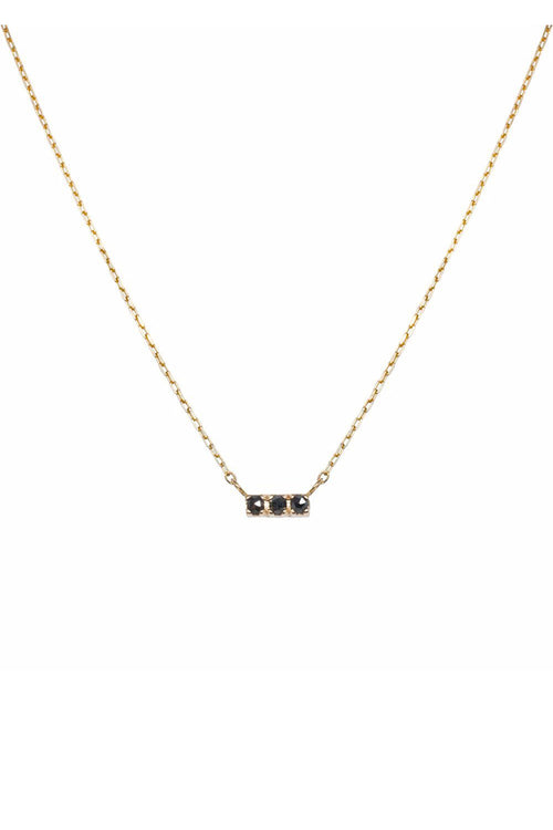 Olya Black Diamond Bar Necklace