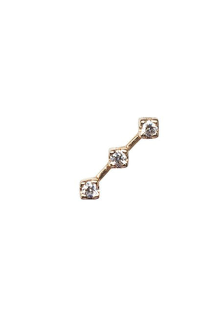 14K Rose Gold Diamond Snake Stud