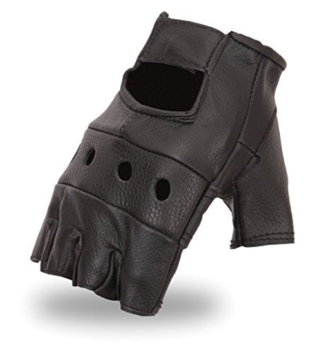 Leather Finger-Less Motorcycle Gloves