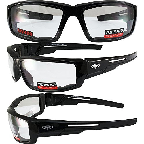 Set of 2 Motorcycle Padded Sunglasses - Clear and Smoke
