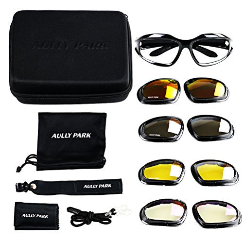 Polarized Motorcycle Glasses with 4 Lens Kit