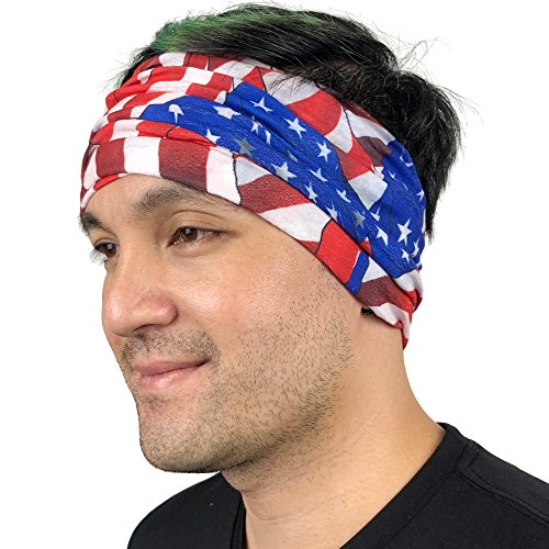 American Flag Bandana - Works as Face Mask, Headband, Neck Gaiter, Balaclava - Perfects for Running, Motorcycle Riding, Fishing, Skiing, Cycling (Waving Flag) : Gateway