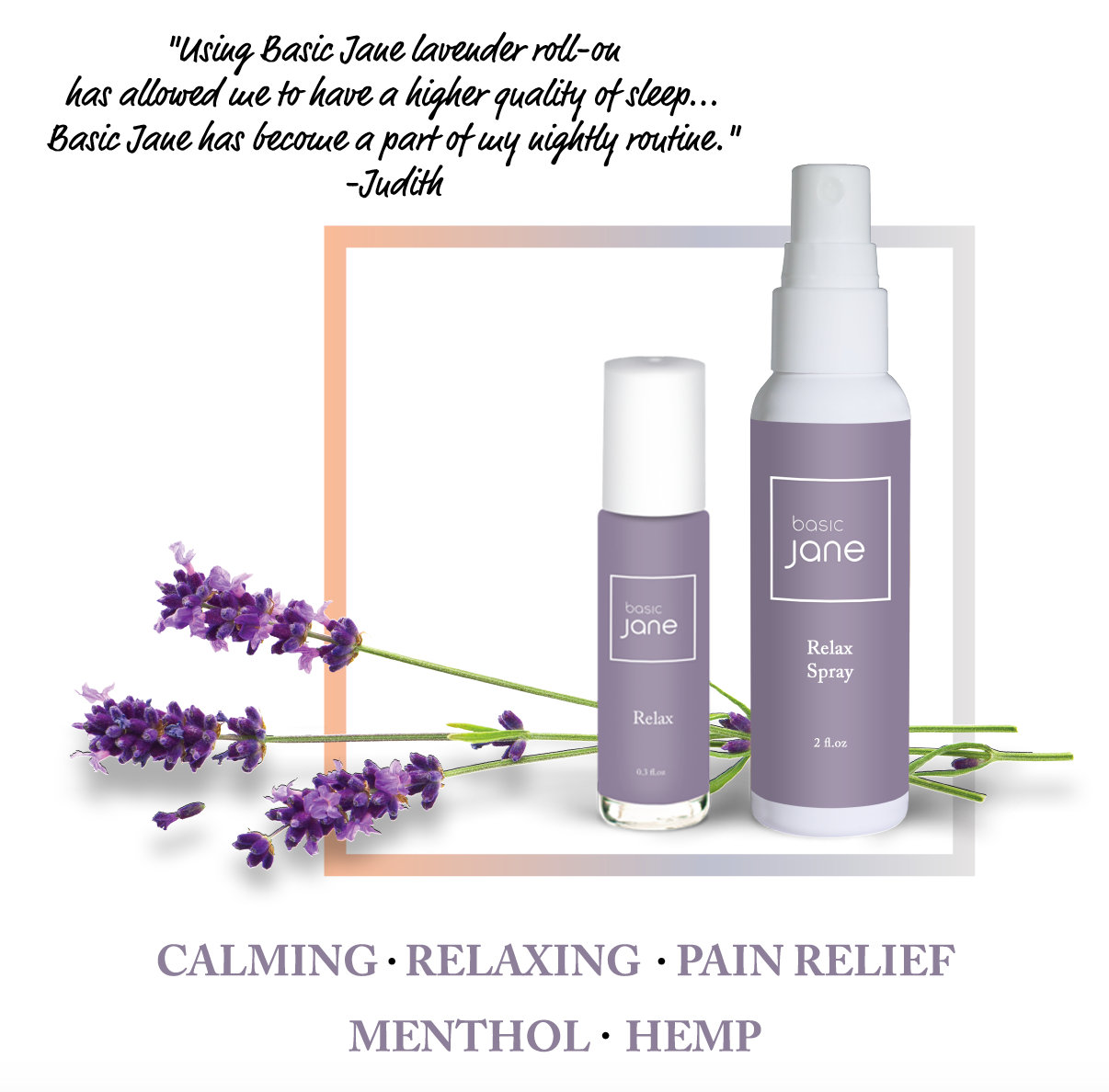 Relax Natural Topical Pain Relief Spray with CBD from Hemp and Menthol  Perfect for Sprains, Strains, Sore Keens, Sore elbows, Tennis Elbow and other aches | Basic Jane
